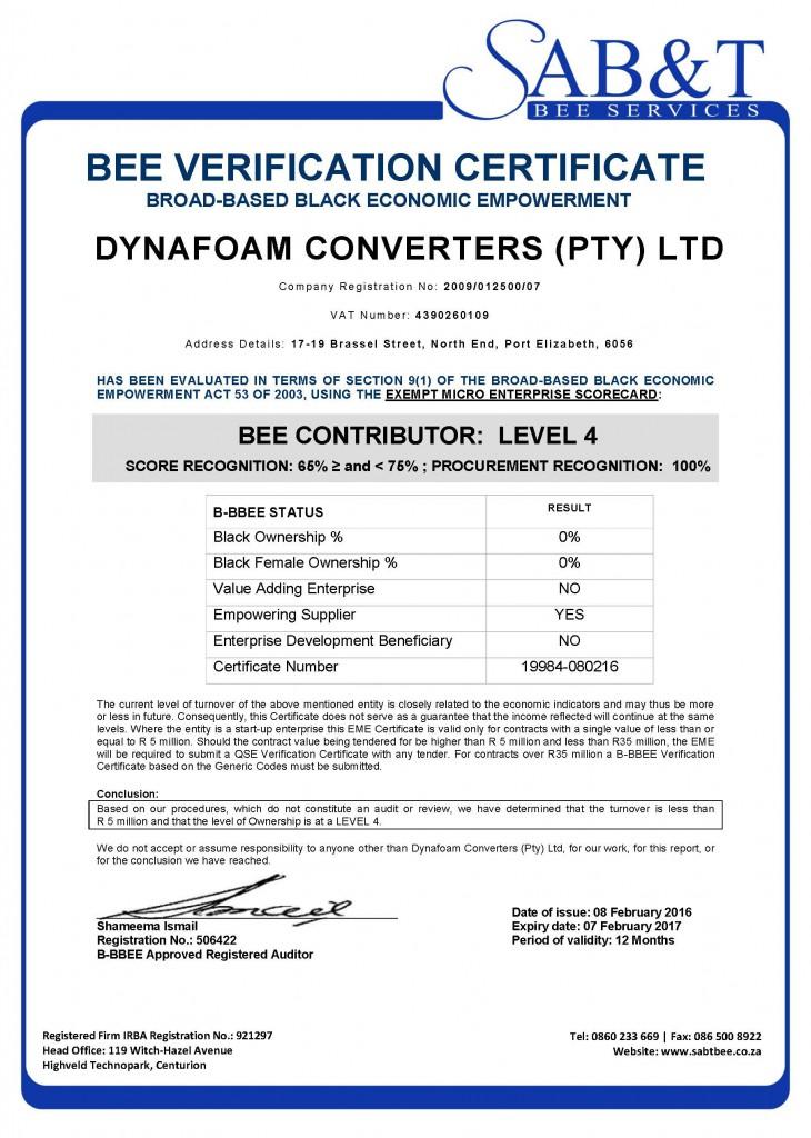 Certificate - Dynafoam Converters (Pty) Ltd 19984-080216 SI s